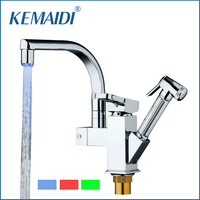 KEMAIDI Good Quality Concise Style Kitchen LED Light Mixer Single Holder Kitchen Faucet Polished Chromed Pull