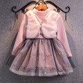 Vestidos de Casamento Vestido de Batismo Da Menina Além de Veludo Do inverno Do Bebê Crianças Roupas Das Meninas Da Princesa Vestidos 2-7 Ano da Festa de Aniversário vestido