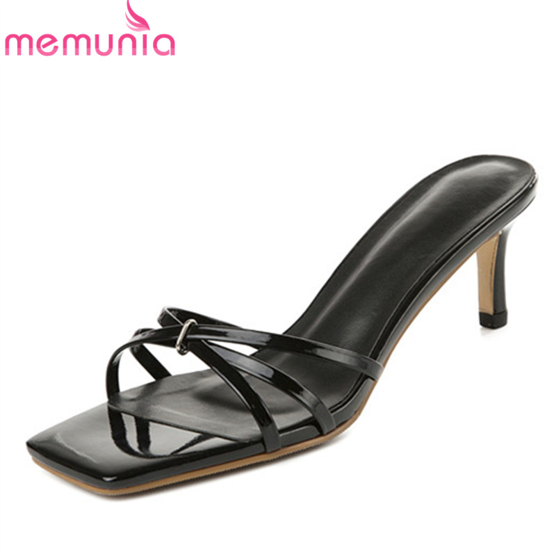 MEMUNIA 2019 newest patent leather shoes women sandals concise sexy thin high heels sandals summer party wedding shoes woman MEMUNIA 2019 newest patent leather shoes women sandals concise sexy thin high heels sandals summer party wedding shoes woman