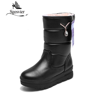 SGESVIER Winter Russia Mid Calf Boots Warm Snow Boots Round Toe Waterproof Women Cotton Shoes Zapatos
