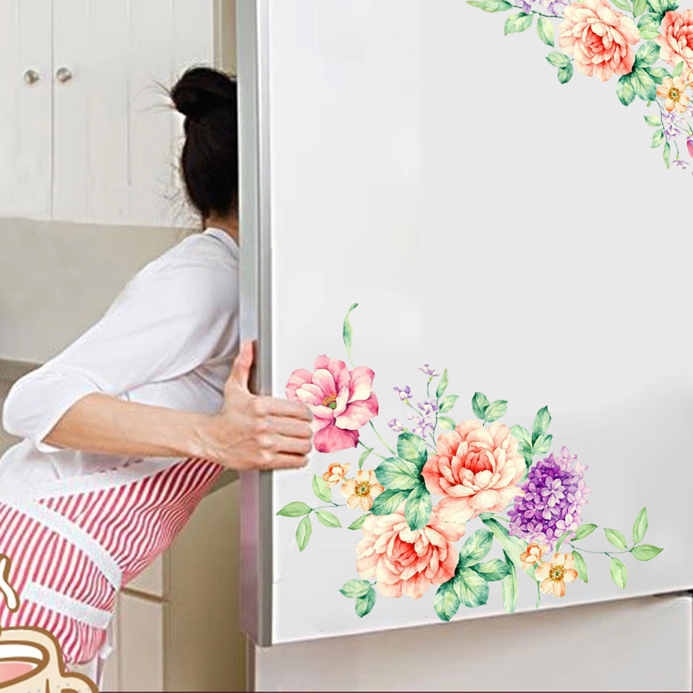 Colorful Flowers 3D Wall Stickers Beautiful Peony Fridge Stickers Wardrobe Toilet Bathroom Decoration PVC Wall Decals/Adhesive