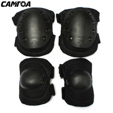 1 Set 6 Color Airsoft Tactical Adjustable Knee & Elbow Protective Pads Set Protector Gear Sports Hunting Shooting Pads