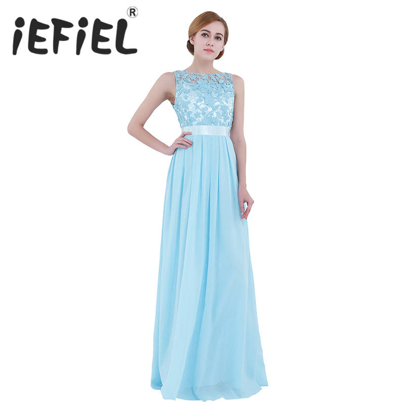 iEFiEL Embroidered Female Fashion Wedding Party Dresses Bridesmaids Chiffon Lace Tulle Dress Women Summer Long Ball Gown Dress