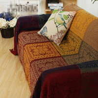 Free shipping American style Scotland plaid throw single/double size chenille boho sofa blanket bed blanket bed cover