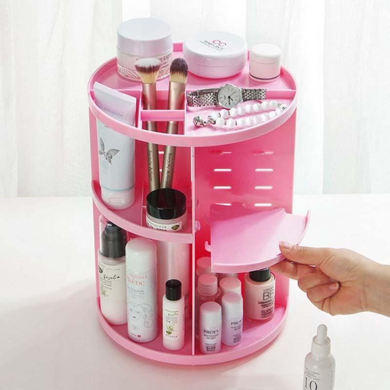 New Fashion 360-degree Rotating Makeup Organizer Jewelry Storage Box Shelf Brush Holder Jewelry Organizer Case