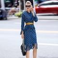 Ecombird azul francia stype borla a cuadros vintage lady dress mujeres Sml Algodón Del O-cuello 2017 runway diseñador de la alta calidad caliente