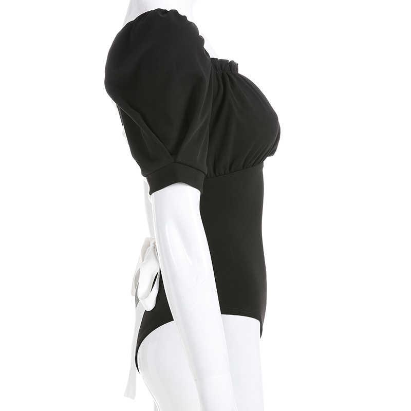 Свитшот черный с пышными рукавами Boho бандажный купальник женский Le Palais винтажный боди Mujer Elegante сзади на шнуровке чарующие боди Лето