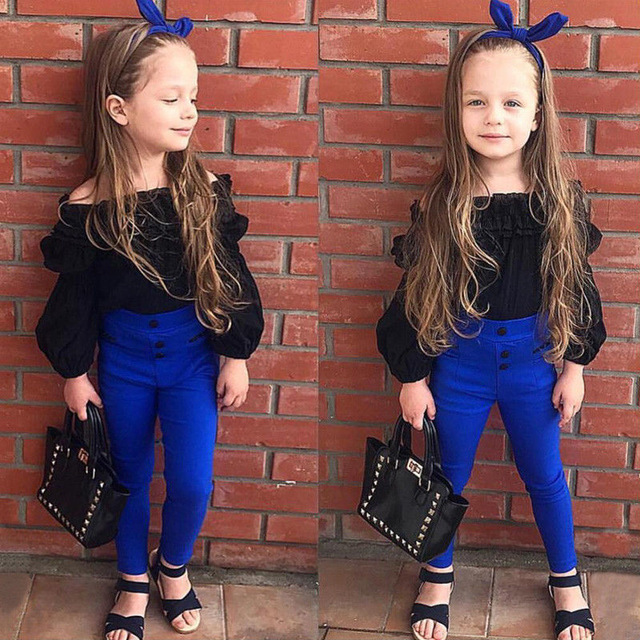 Fashion Children Girls Cute Clothes Sets Off Shoulder Ruffles Tops T-shirt +High Waist Solid Long Pants For Little Ladies fashion style for girls of chiffon long sleeves tops with stars printed jeans pants in autumn sets children s clothes st316