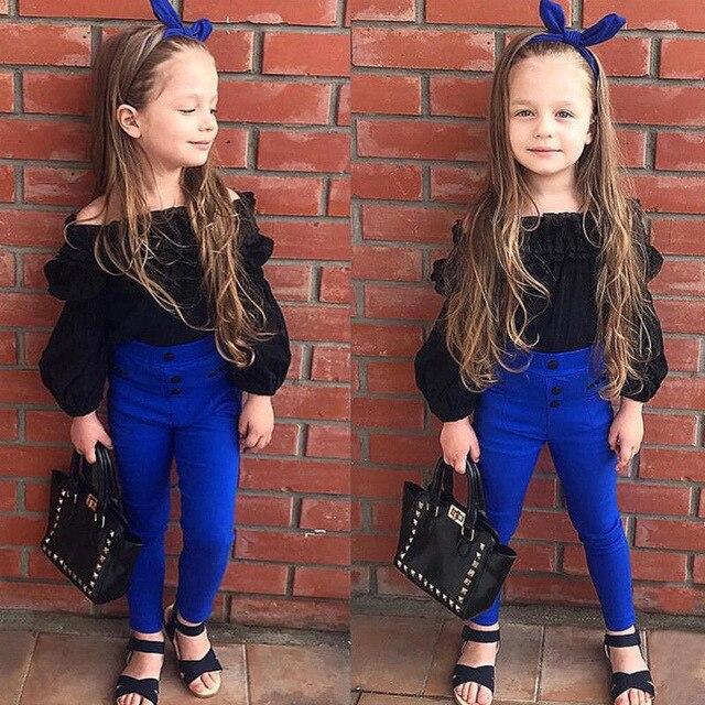 Fashion Children Girls Cute Clothes Sets Off Shoulder Ruffles Tops T-shirt +High Waist Solid Long Pants For Little Ladies