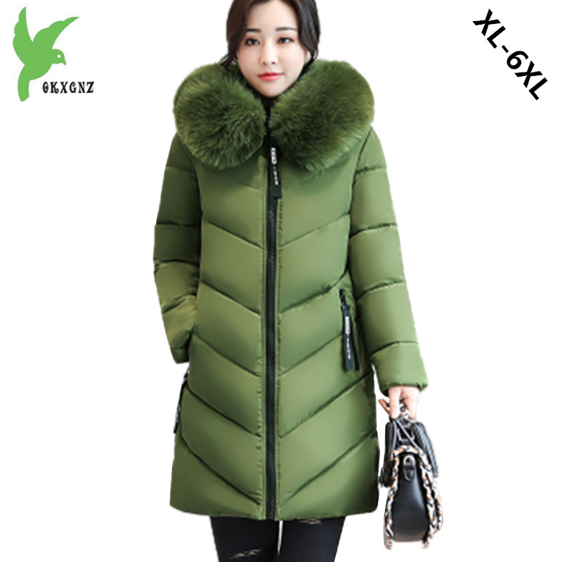 Plus size 6XL Women Winter Cotton Jacket Coats Thick Warm   Parkas   Fashion Hooded fur collar Slim Jacket 100KG can wear OKXGNZ1170