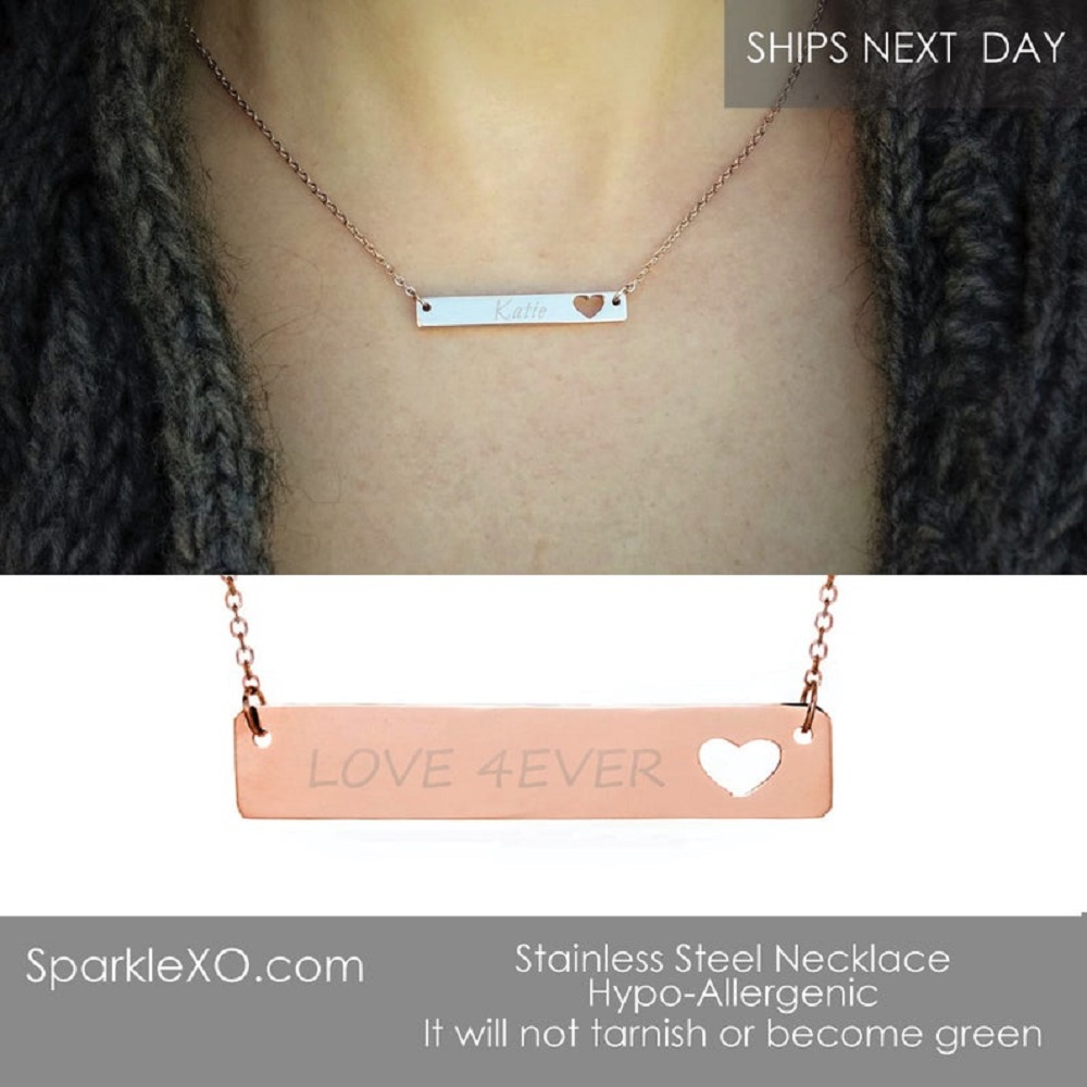 Name Necklace Heart Cutout Necklace Personalized Necklace Engraved Necklace Bar Necklace Inspirational Gift For Women in Chain Necklaces from Jewelry Accessories
