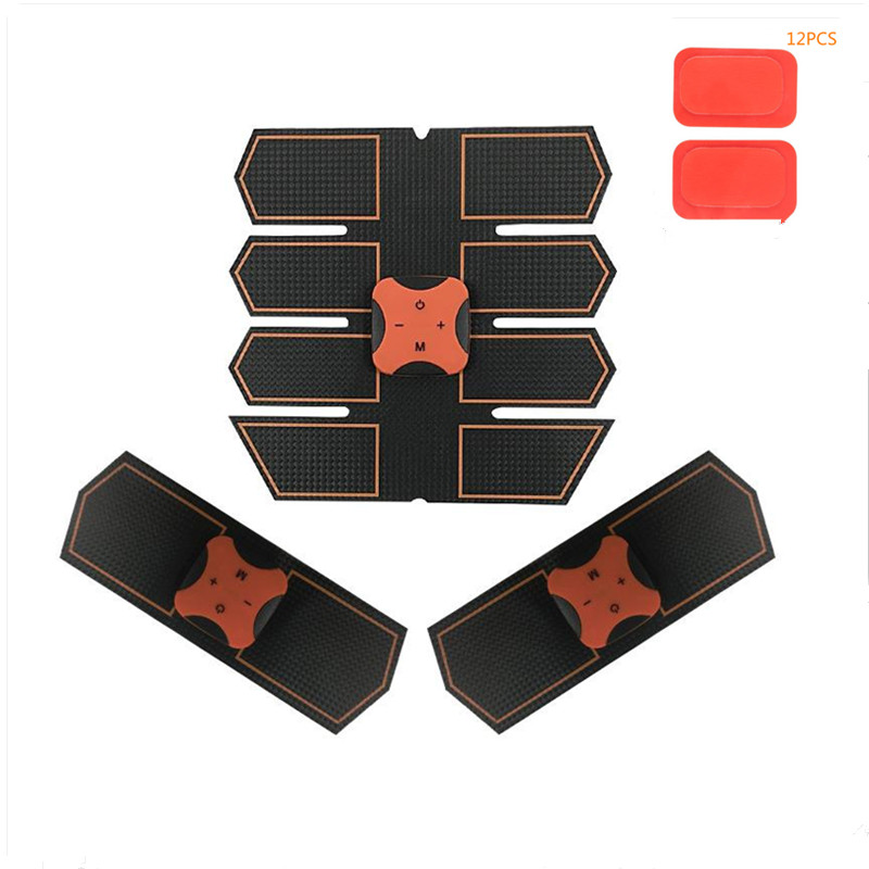 Smart Abdominal Muscle Trainer Sticker Body Massager Stimulator Pad With 12pcs Silicone Hydrogel Mat Fitness Gym Sports Stickers