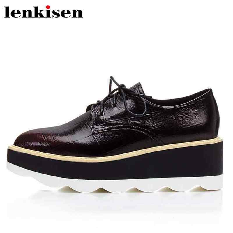 Lenkisen Korean girl runway pointed toe narrow band lace up beauty lady high heels party weeding women cow leather pumps L2f3