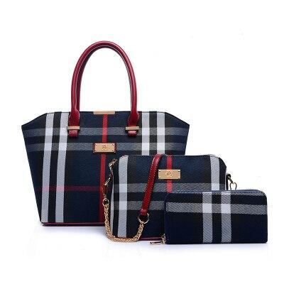 New  Fashion  Canvas Plaid  Women Handbags composite bags=2pieces  Totes  Engla