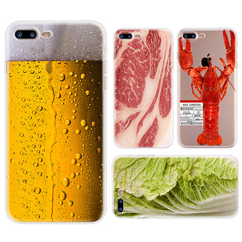Funny Beer Drink Beef Lobster Chinese Cabbage TPU Silicone Phone Case For iPhone 5 5S SE 6 7 6S 7 Plus Transparent Clear Cover visa