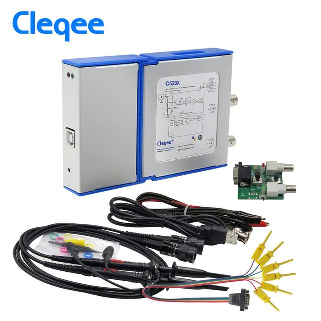Cleqee android&pc virtual digital usb oscilloscope handheld can connect  2 channel bandwidth 20mhz/50mhz sampling data 50m/1g