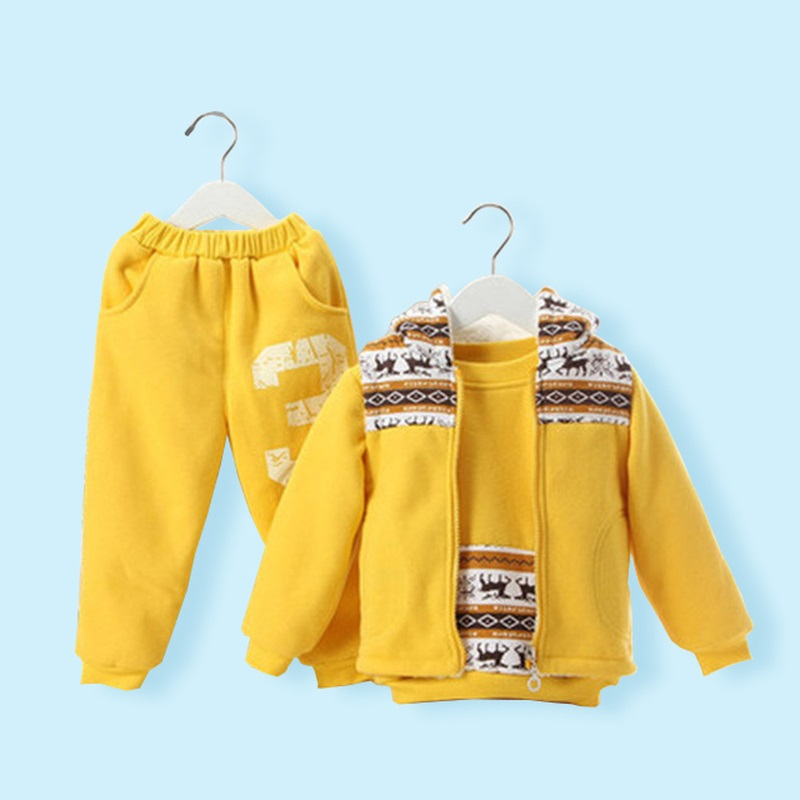 ФОТО 3pcs Suits 1-5 Years Old Kids Plus Velvet  Winter Clothing For Kids Fawn Children's Sports Suit Boys And Girls Clothes