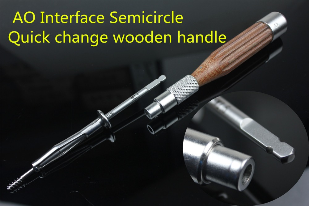Medical orthopedic instrument AO Interface Semicircle Quick change wooden handle universal all AO synthes screwdriver Fast clip ao