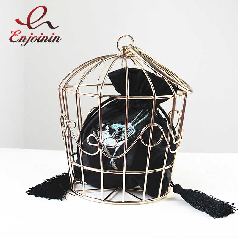 New style personality bird cage metal modeling embroidery satin bag party ladies handbag totes fashion purse 3 colors