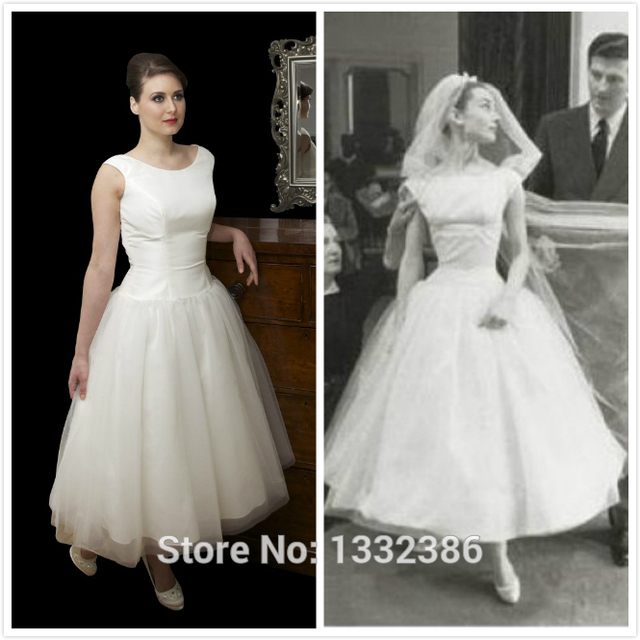 Hot Vintage Tulle Over Taffeta Bateau Neckline Ivory Tea Length Audrey Hepburn Style Wedding Dress