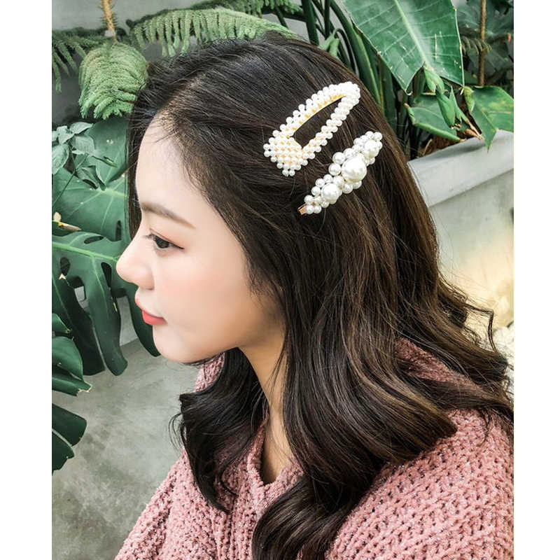 M MISM Full pearls Hair Clips for Women Fashion Sweet Imitation Korean Style Hairpins Alloy BB Headmade Girls Hair Accessories