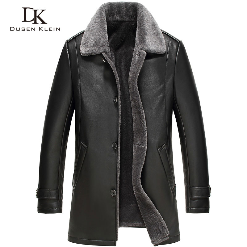 Men's leather Jacket wool interior 2016 New Dusen Klein Genuine sheepskin wool collar Middle long Designer male coat 61Z16017