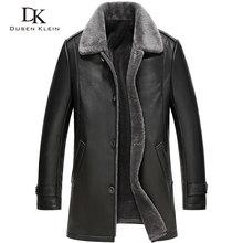 2016 New Dusen Klein Men's leather Jacket wool interior Genuine sheepskin wool collar Middle long Designer male coat 61Z16017