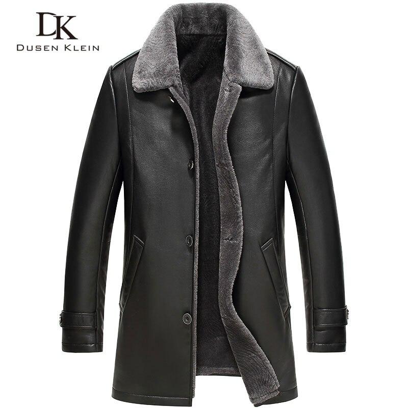 Hommes veste en cuir laine intérieur 2016 nouveau Dusen Klein véritable peau de mouton laine col moyen long concepteur mâle manteau 61Z16017