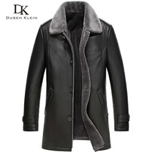 2016 New Dusen Klein Mens leather Jacket wool interior Genuine sheepskin collar Middle long Designer male coat 61Z16017