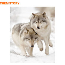 CHENISTORY Picture Wolves Animals Diy Painting By Numbers Modern Wall Art Canvas Painting Unique Gift For Home Decor 40x50CM(China)