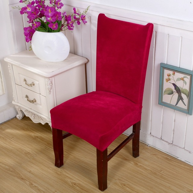 1 Pc Soft Spandex Velvet Dining Chair Cover Wedding Party Solid Color  Dustproof Chair Seat Cover
