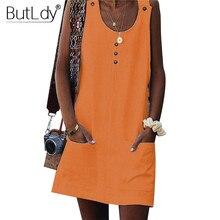 Orange Button Cotton Line Short Summer Shirt Jumper Dress Women 2019 Off Shoulder Beach Casual Mini Swing Sundress