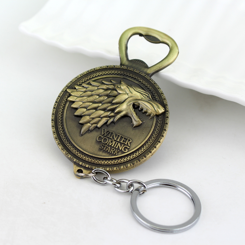 2 colors new winter is coming game of throne bottle opener keychain house sta. Black Bedroom Furniture Sets. Home Design Ideas