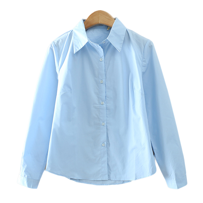 T inside solid color blue and white blouses work wear 2016 for Blue and white long sleeve shirt