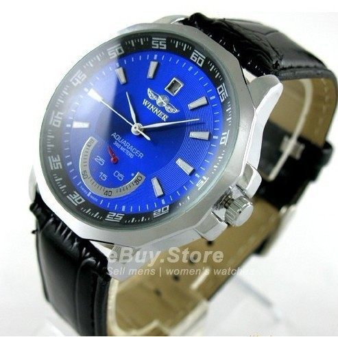 blue ocean men luxury skeleton watches automatic mechanical Timepiece self wind watches with calender genuine leather strap