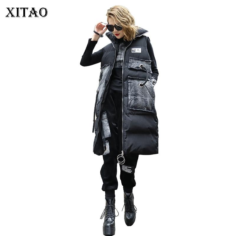 [XITAO] 2018 Autumn Korea Fashion New Arrival  Women Pocket Coat Female Print Patchwork Sleeveless Pocket Parka  LYH1437