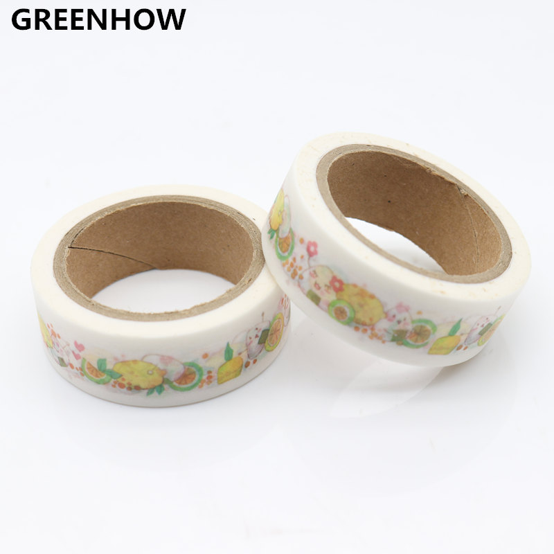 GREENHOW 1pcs Lovely Animals Washi Tape DIY Masking Paper Tape Decorative Sticker Tape School Office Supply 8126