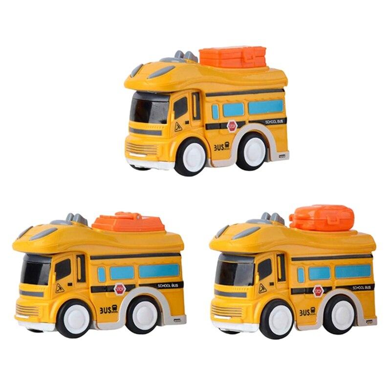 Mini Fricción JuguetesClásico Escolar 3 Coche Inercia Modelo Bus De Paquete Piezas Con uOkZiXTP