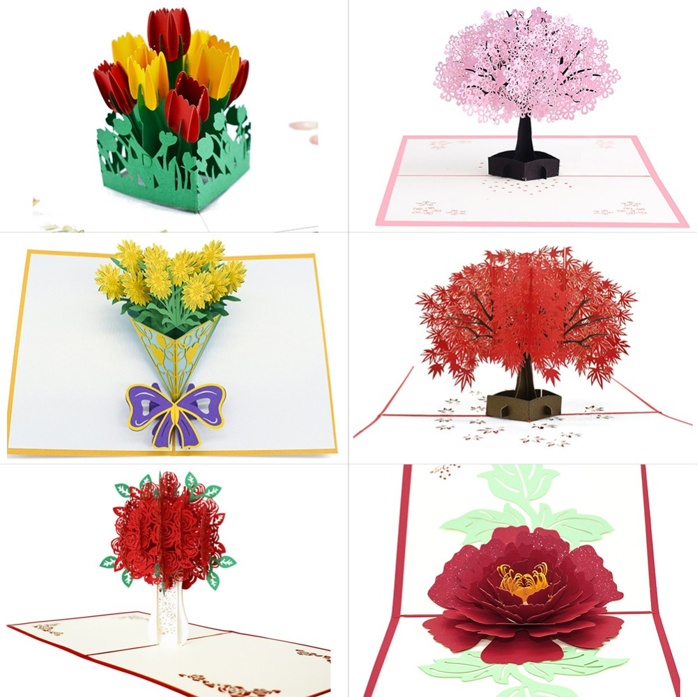 3D Pop Up Cards Flowers Card Mothers Day Wedding Anniversary Birthday Gifts Card Greeting Cards for All Occasions Wife Her Girl