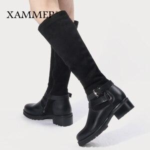 Image 3 - Женские зимние сапоги до колена, кожаные брендовые сапоги больших размеров, женская зимняя обувь из шерсти и плюша