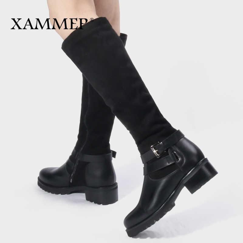 Kadın Kış Ayakkabı Diz Yüksek Çizmeler Büyük Boy Yüksek Kaliteli Deri Marka Kadın Ayakkabı Yün Ve Peluş Kadın Kışlık Botlar