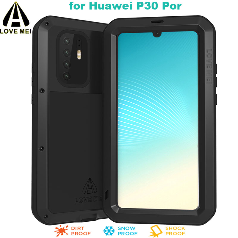 For Huawei P30 Pro <font><b>Phone</b></font> <font><b>Case</b></font> LOVEMEI Luxury Aluminum Metal Armor Shockproof Life Waterproof POWERFUL Cover + Gorilla Glass Film image