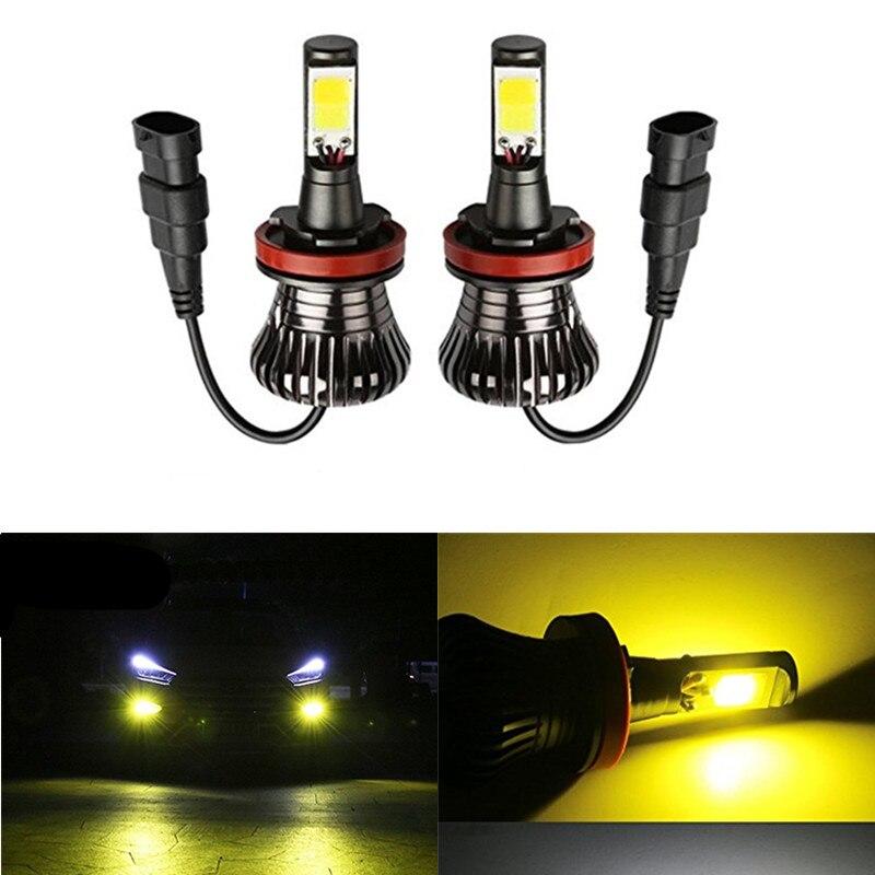 2pc Car Led Lamp H3 H11 H8 H27 880 881 Hb3 9005 Hb4 9005 Fog Lamps Led Auto Bulbs Front Fog Lights Golden White Ice Blue 12v