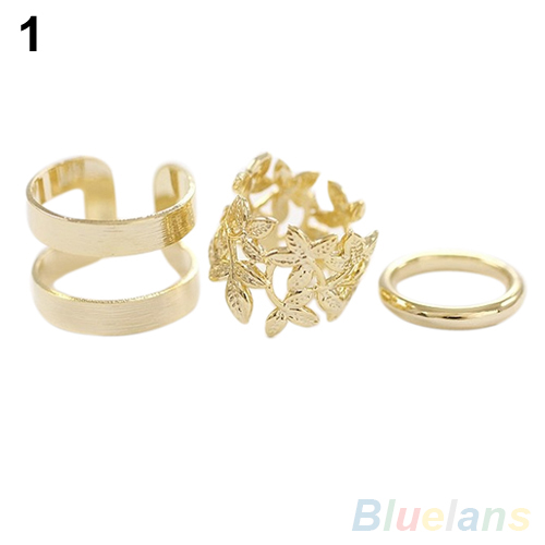 Lady's Favorite 3Pcs Midi Finger Ring Set Silver Gold Stack Above Knuckle Band Rings 2 Colors  7DVK