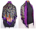 Free Shipping Purple Women's Triangle Velvet Silk Beaded Embroidery Shawl Scarf Peafowl WS-071