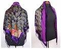 Purple Envío de Las Mujeres del Triángulo de Terciopelo de Seda Bordado Con Cuentas Bufanda Del Mantón Peafowl WS-071