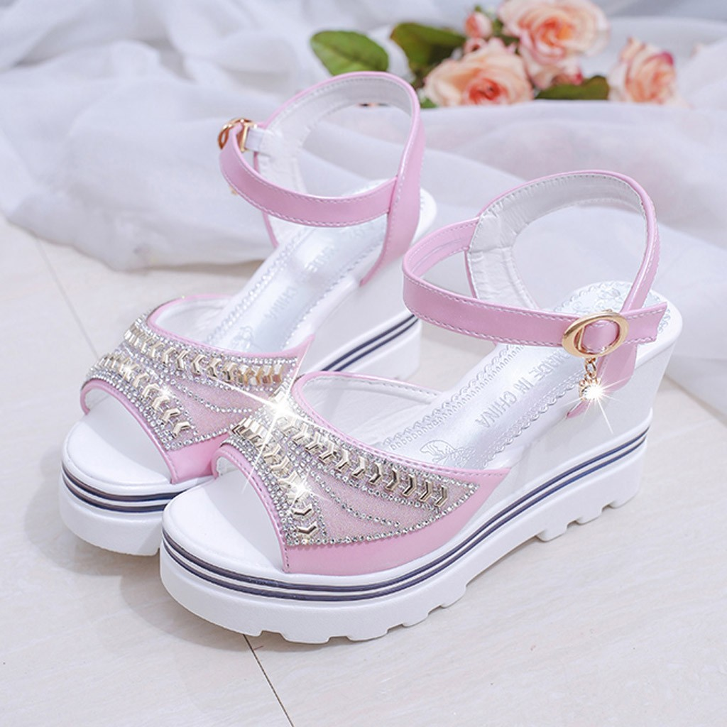 HTB1dmyynnZmx1VjSZFGq6yx2XXaQ - SAGACE Women Thick Bottom Sandals Wedges Sandals Shoes For Women Fashion Women Summer Wedge Heel Open Toe Buckle Strap Sandals