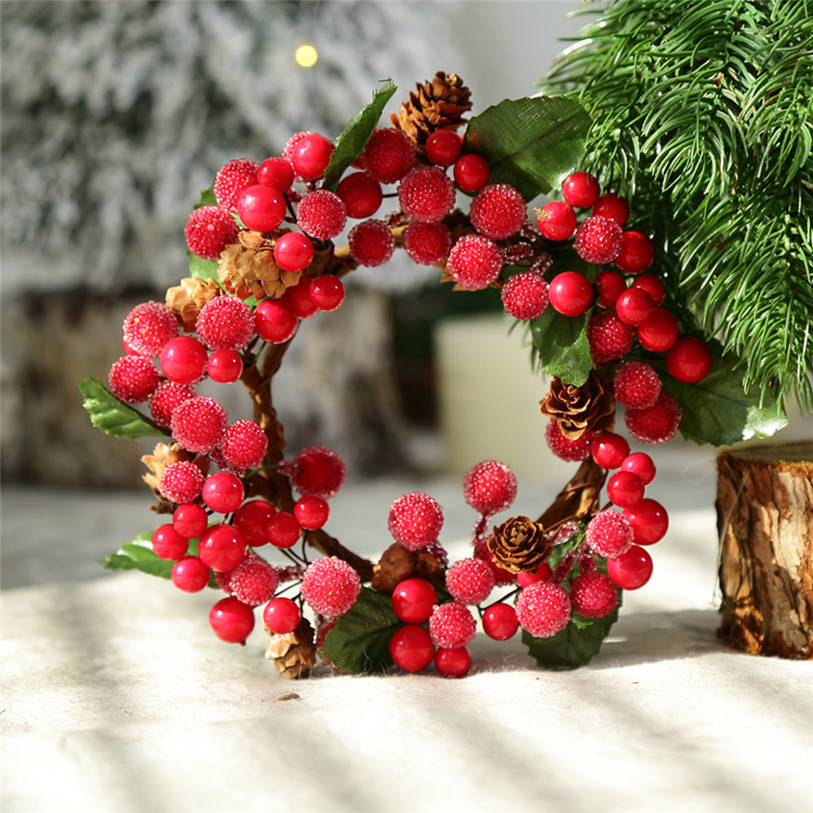 Tc Merry Christmas Berry Wreath Window Door Decorations Pine Fruit Garland  Hanging Ornament Christmas DIY Craft Wholesale 11.11 In Pendant U0026 Drop  Ornaments ...