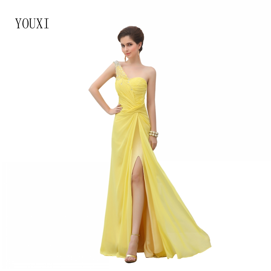 Sexy One Shoulder Yellow   Prom     Dresses   2019 New Hot High Quality Chiffon Formal Evening Party Gowns
