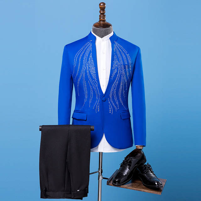 7e892e88abe Silver Rhinestones Jacket Pants Men s Slim Suit Set Wedding Host Coat Plus  Size Black White Blue Red Men Singer Show Outfit Set
